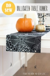 """NO-SEW Halloween Table Runner...with hanging spiders! (from the book """"No-Sew Love"""") --- Make It and Love It"""