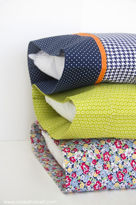 """Diy bed pillow cases: 3 sizes and 3 different styles (including the """"burrito"""" method)"""