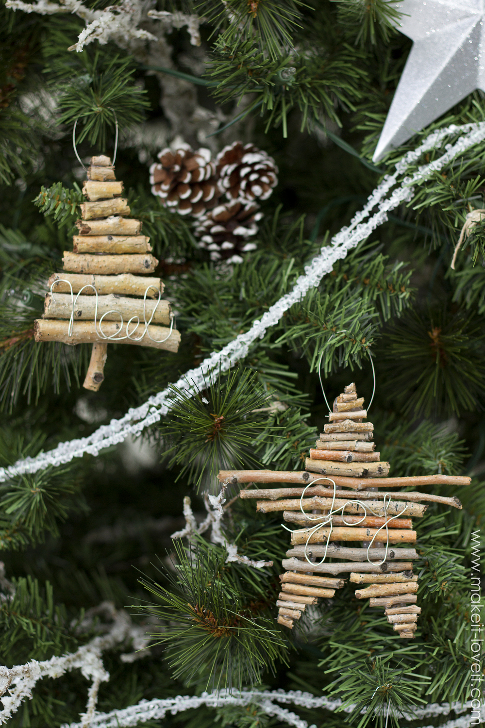 DIY Twig and Wire Christmas ornament   via Make It and Love It