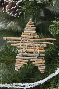 DIY Twig and Wire Christmas ornament | via Make It and Love It