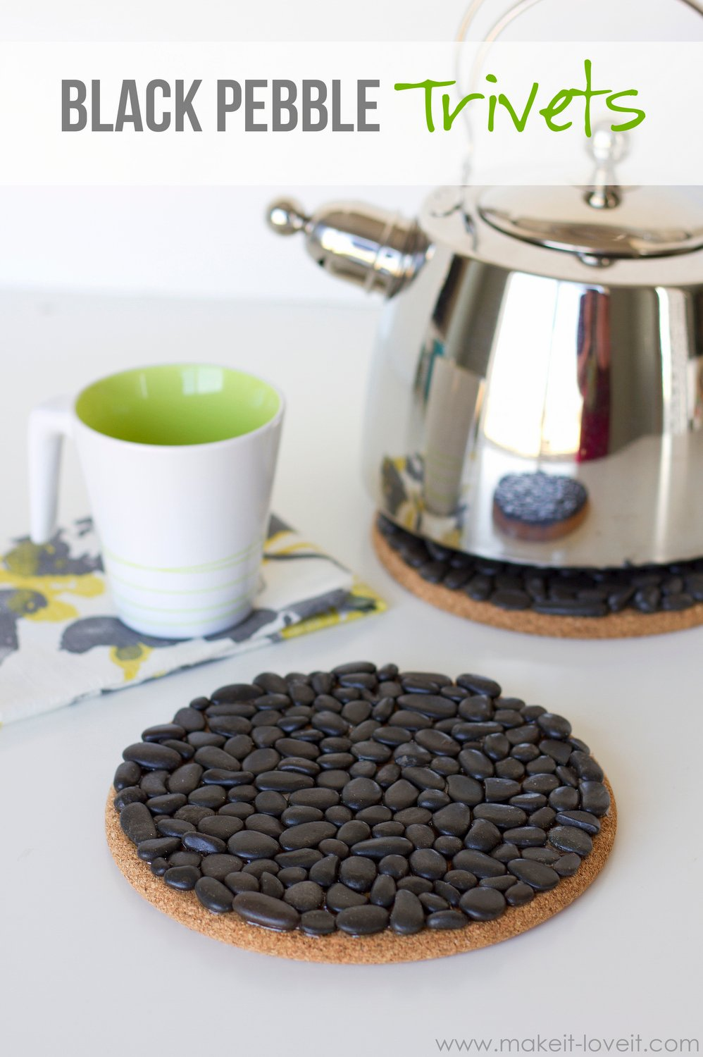 Diy black pebble trivets