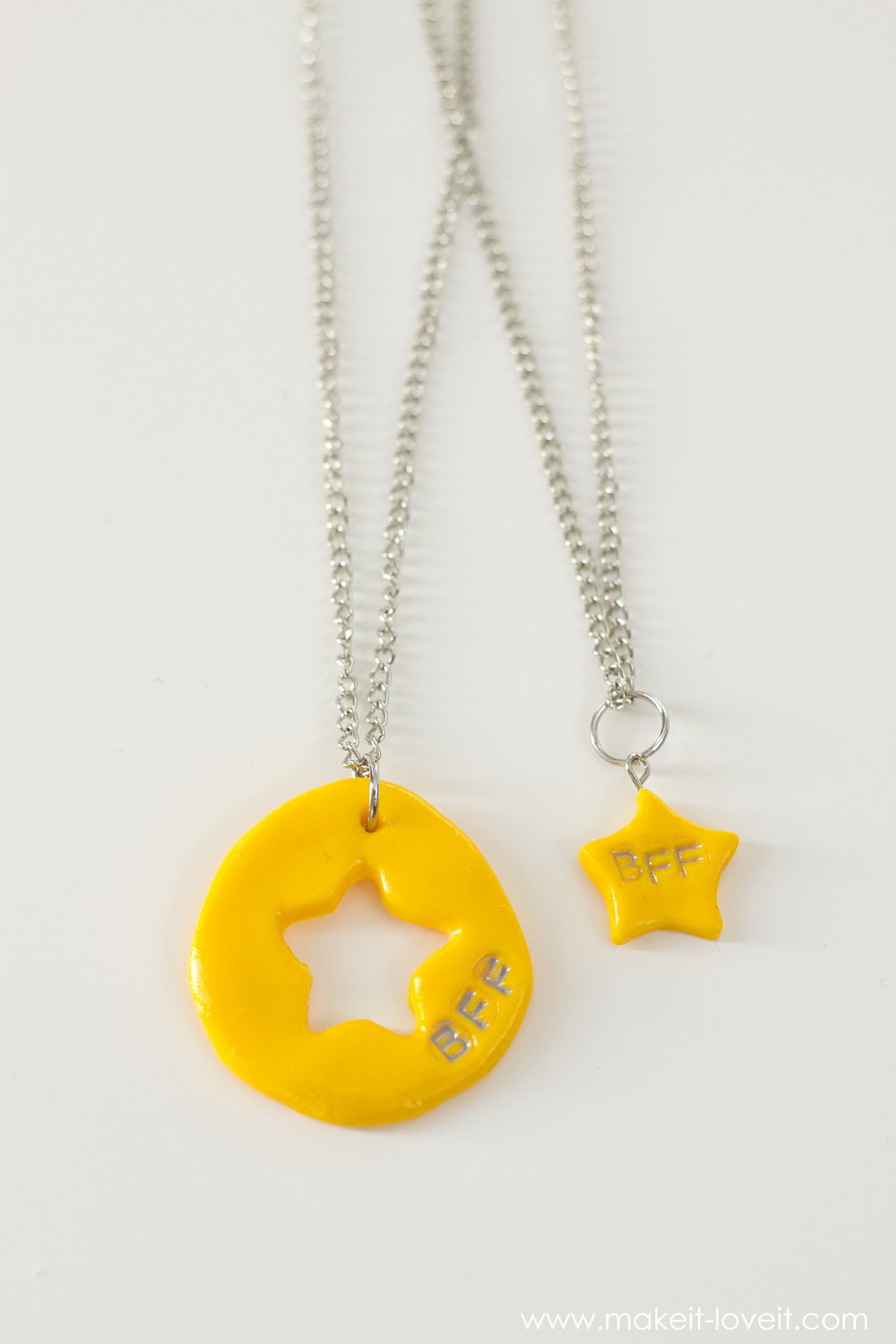"""DIY """"Frozen"""" and """"BFF"""" Charm Necklaces...made from polymer clay! 