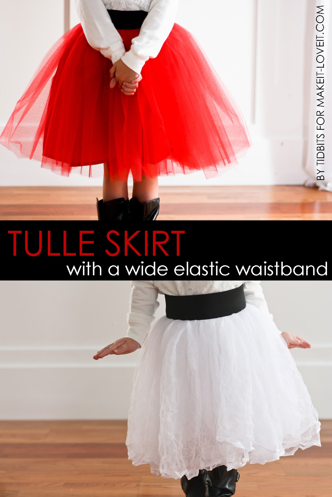 DIY Tulle Skirt with Wide Elastic Waist Band.....a great holiday skirt! | via Make It and Love It