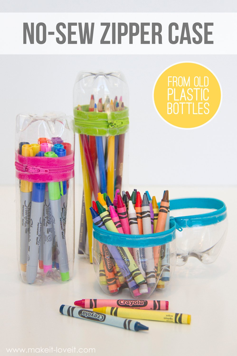 No-sew zipper cases…from old soda (or water) bottles!