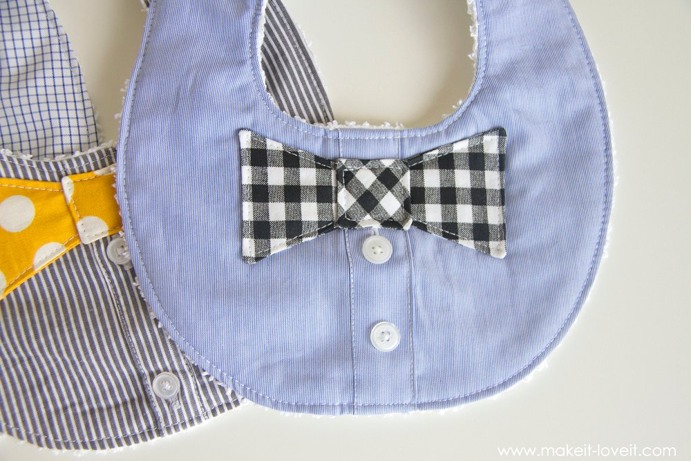 DIY Bow Tie Drool Bib...for BOYS! (from a Men's shirt) | via Make It and Love It
