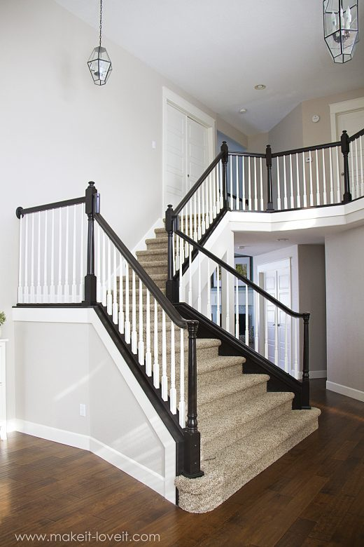 How to stain/paint an oak banister (the shortcut method…no sanding needed!)