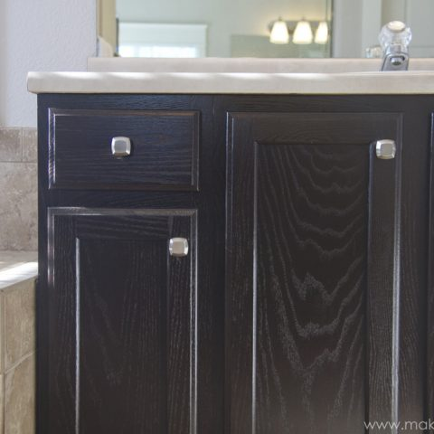 Bathroom Cabinet Refinishing: Staining Oak Cabinets DIY Project