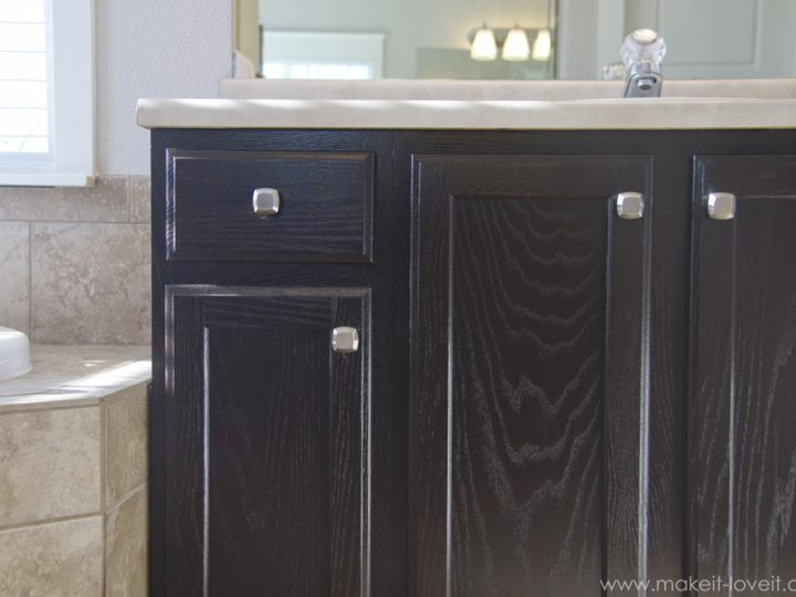 Refinish Bathroom Vanity Diy Project How To Stain Oak Cabinets