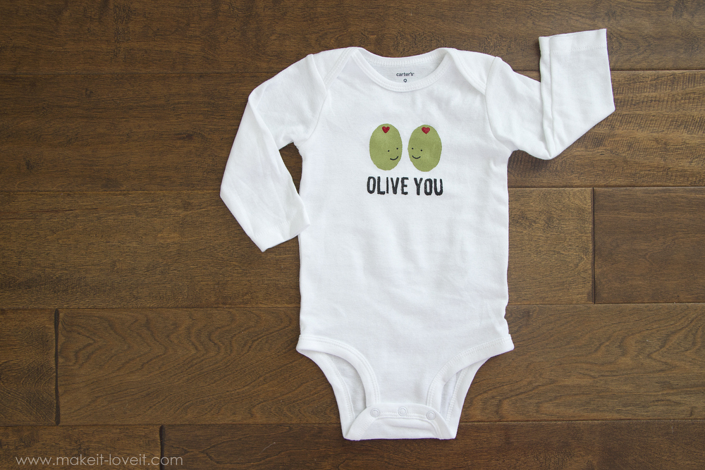 """DIY """"Olive You"""" Stenciled Shirt (...for Valentine's Day or any other day of the year!) 