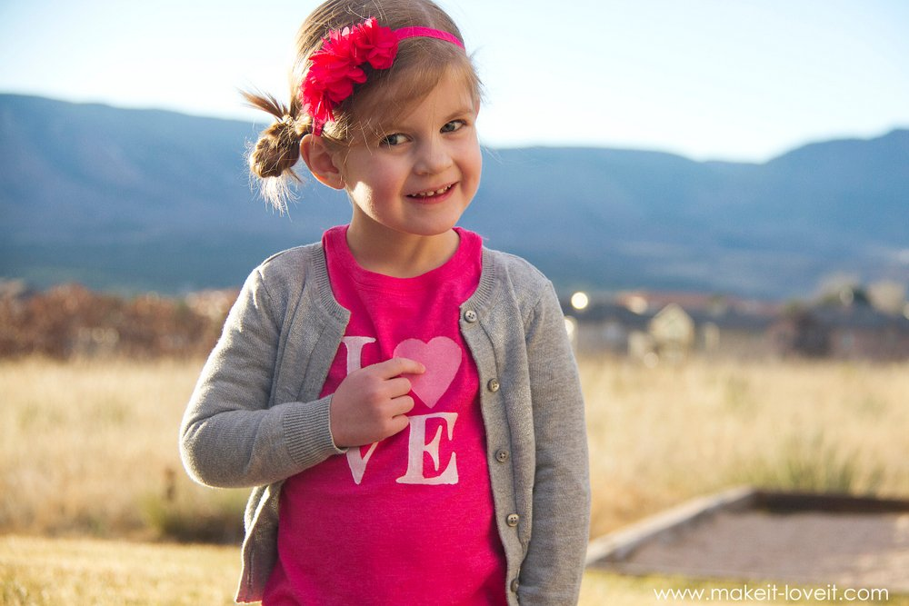 DIY Valentine's Day Clothing: a LOVE shirt and Mini Heart Stamped Pants | via Make It and Love It