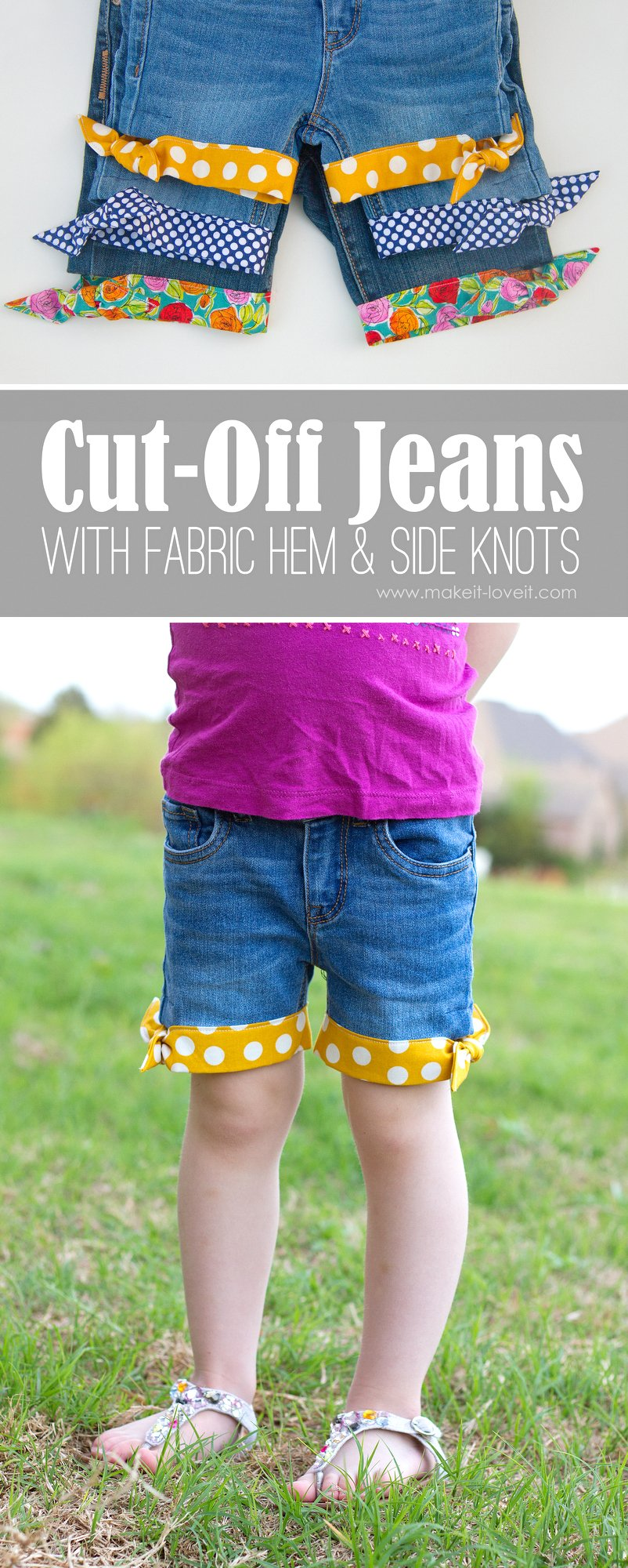 Cut-off jeans…with fabric hem and side knots