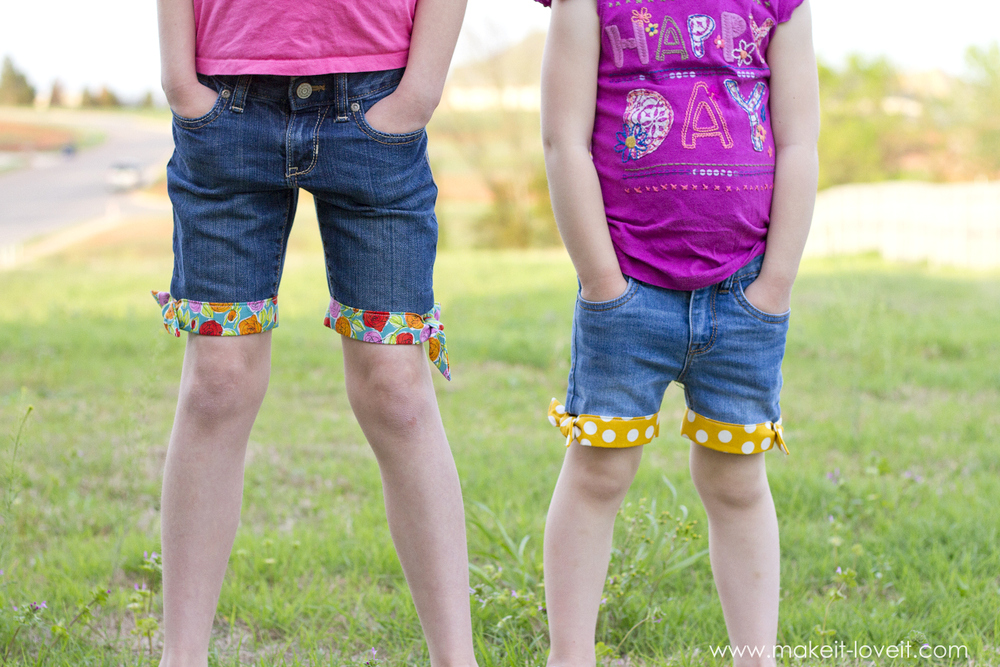 DIY Cut-Off Jeans...with Fabric Hem and Side Knot | via Make It and Love It