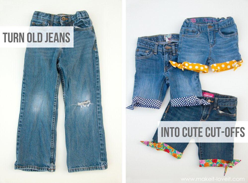 Cut-Off Jeans...with Fabric Hem and Side Knots