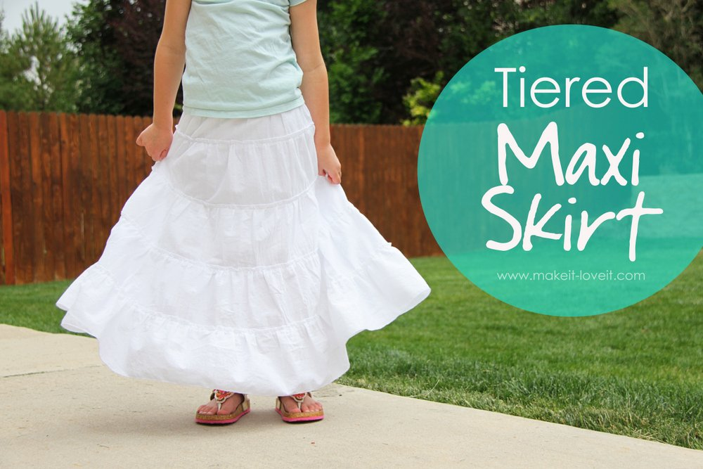 DIY Tiered Maxi Skirt...girls and womens sizing | via Make It and Love It