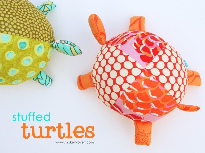 diy stuffed fabric turtles