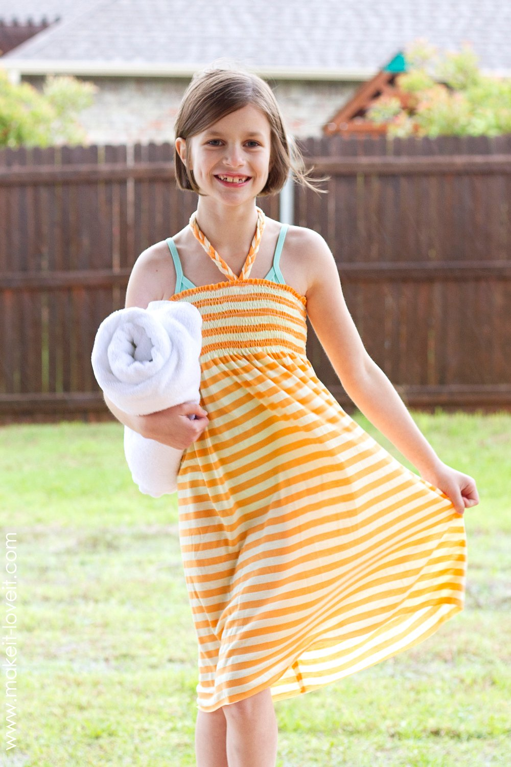 Swim cover-up: shirred dress with braided halter ties