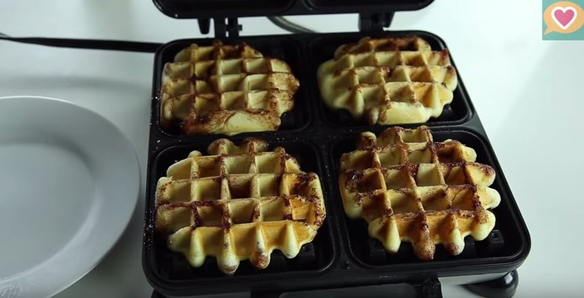 Yummy desserts made in a waffle maker