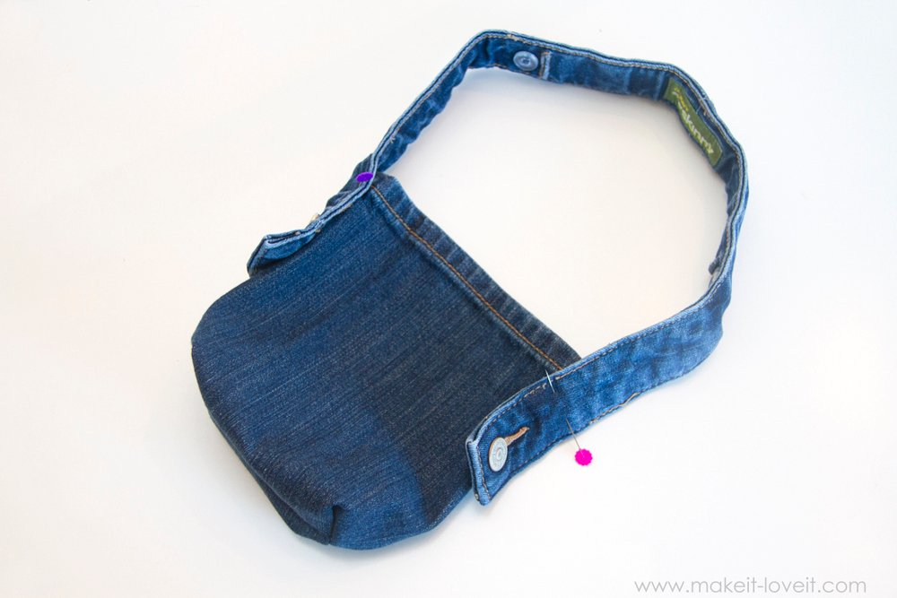 Denim Purse with Draw String Closure from OLD JEANS 17