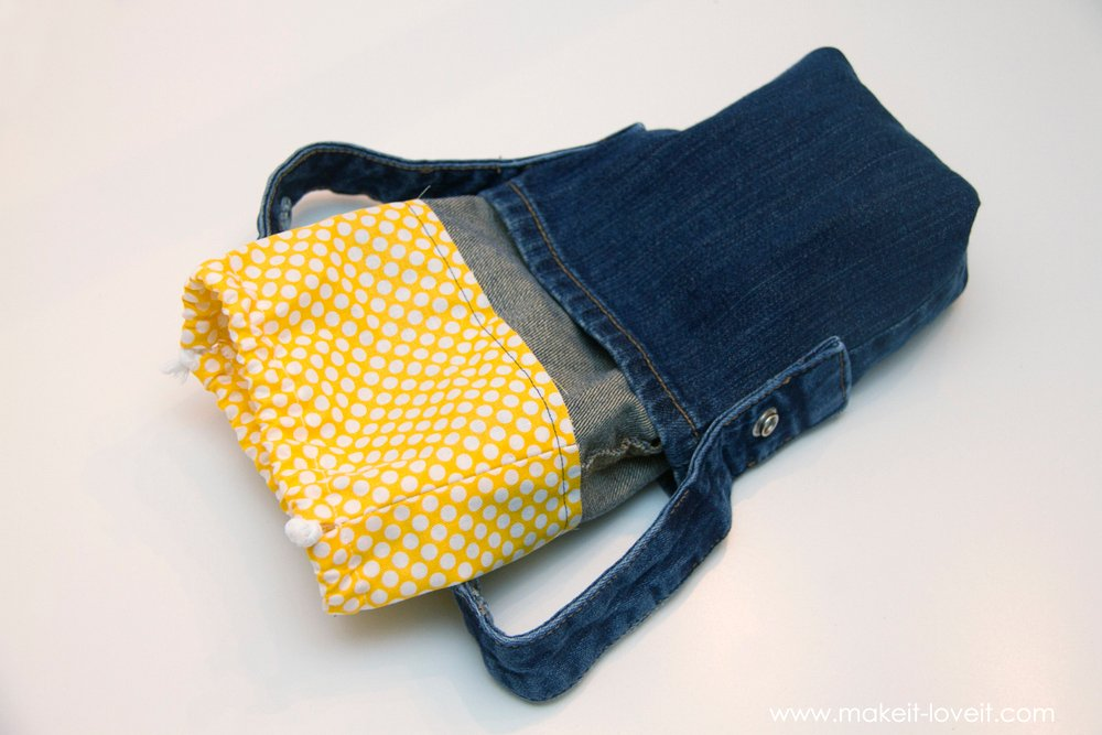 Denim Purse with Draw String Closure from OLD JEANS 32