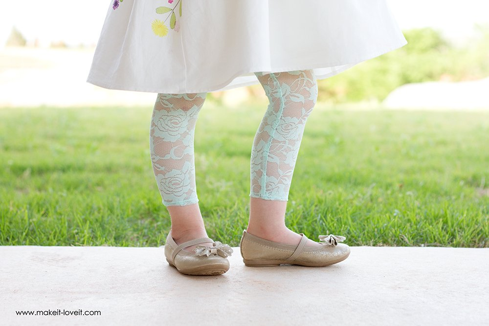 How To Make Stretchy Lace Leggings | via Make It and Love It