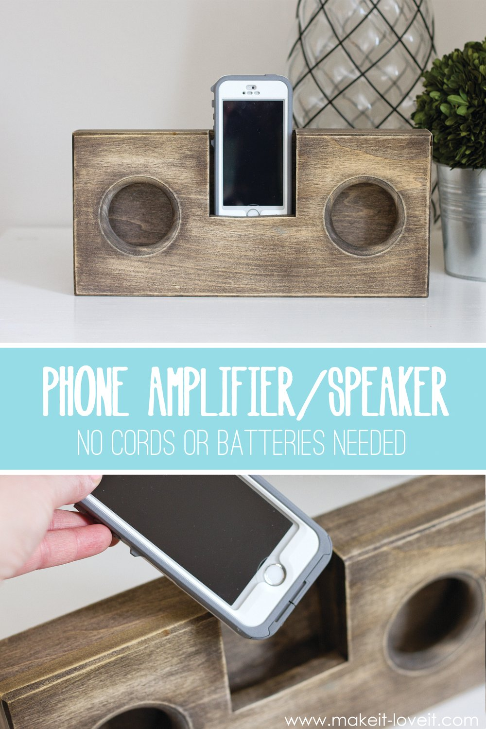 Wooden phone amplifier/speaker (no cord or batteries needed)