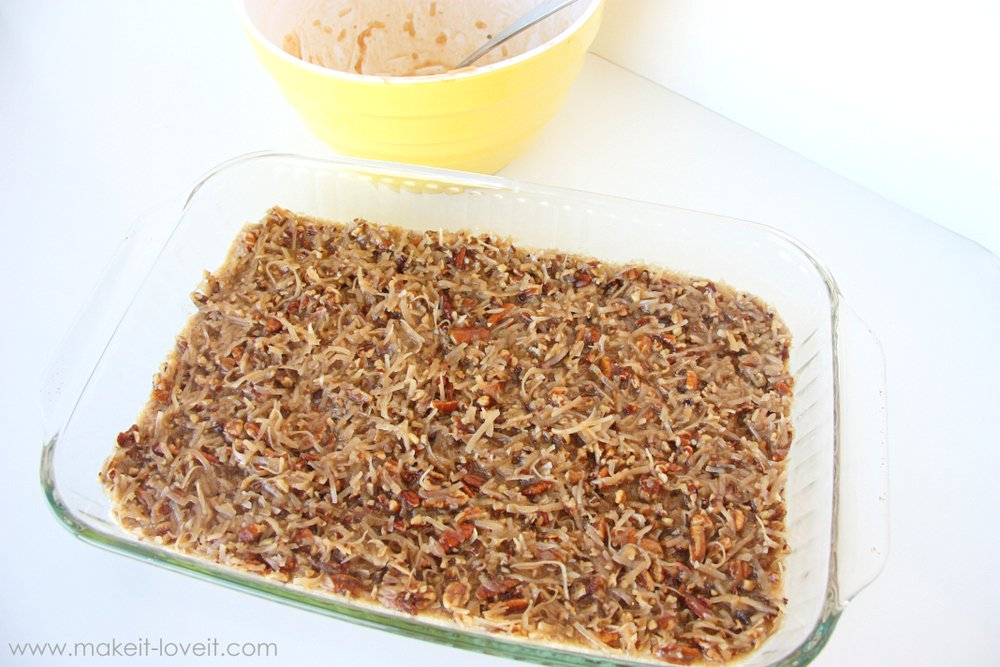 Chewy Coconut Pecan Bars   via Make It and Love It