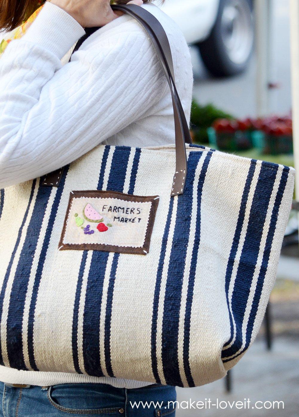 Farmers' market bag (from an ikea rug)