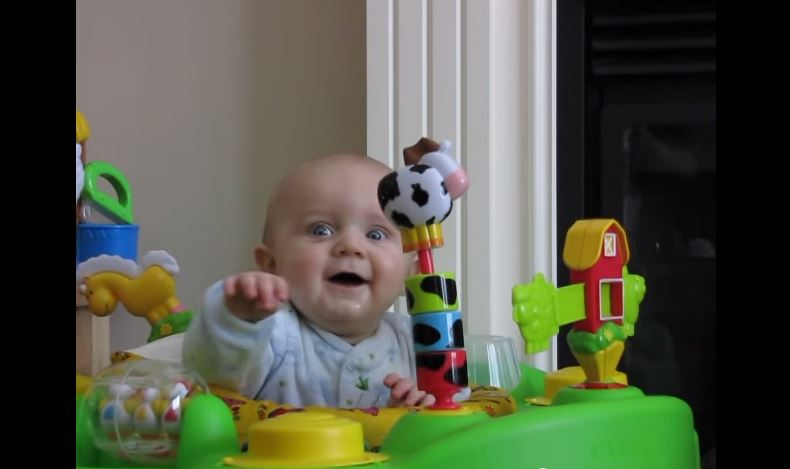 This baby gets scared over something silly!