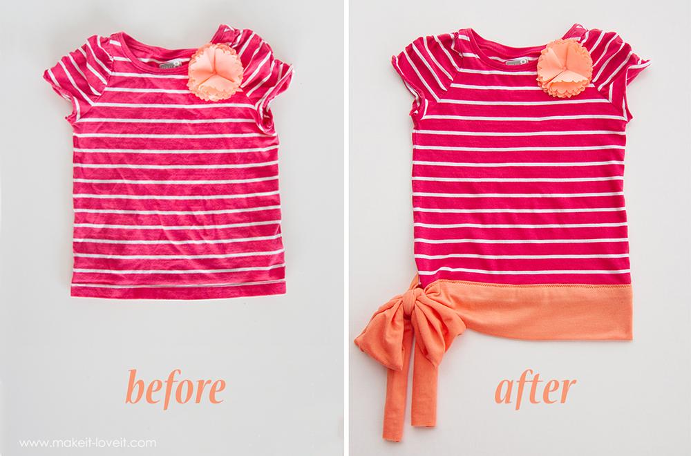 add a waist sash to shirts great for making them longer via make