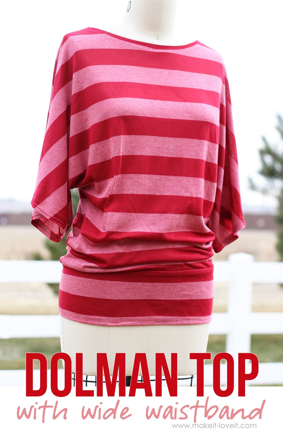 Make your own dolman style shirt — with a wide waistband