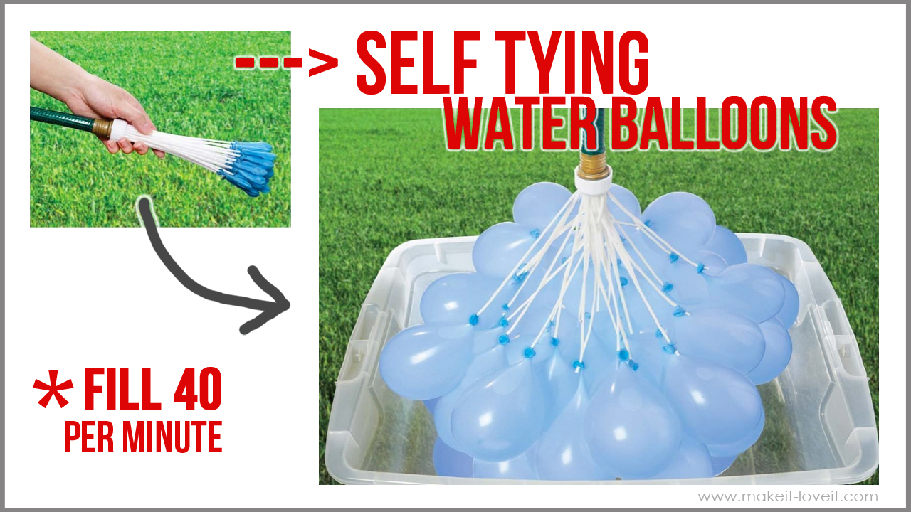 Our Summer FUN: Self-Tying Water Balloons (...fill 40 in SECONDS!!!) via Make It and Love It