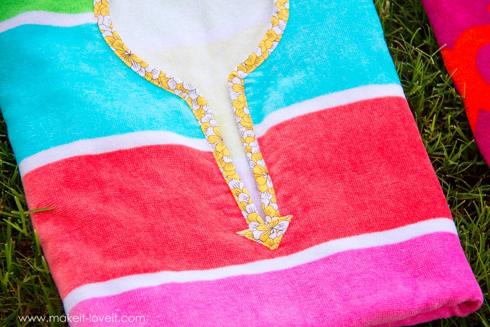 DIY Swimming Towel Poncho...stays in place and off the ground! |via Make It and Love It