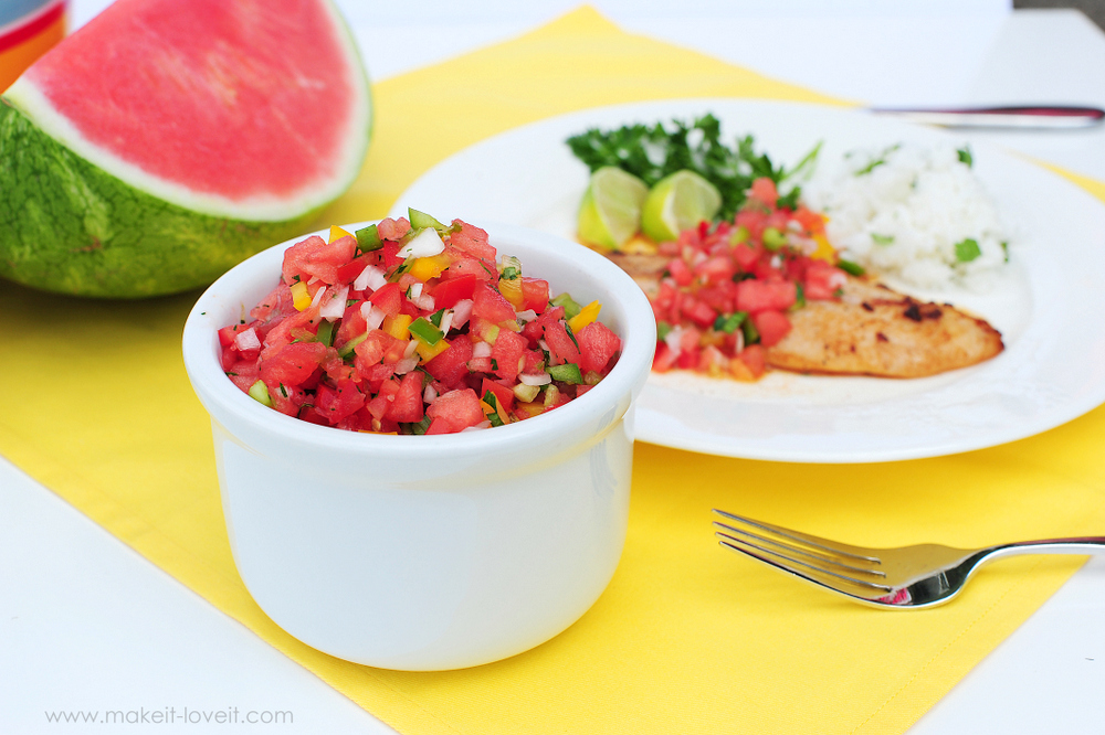 The PERFECT Tomato and Watermelon SALSA recipes | via Make It and Love It -- in the KITCHEN