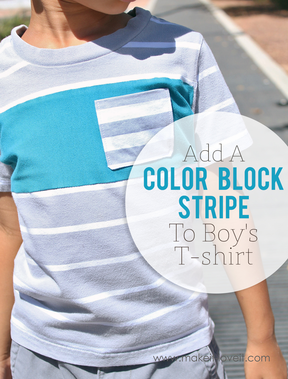 Add a color block stripe to boys t shirt