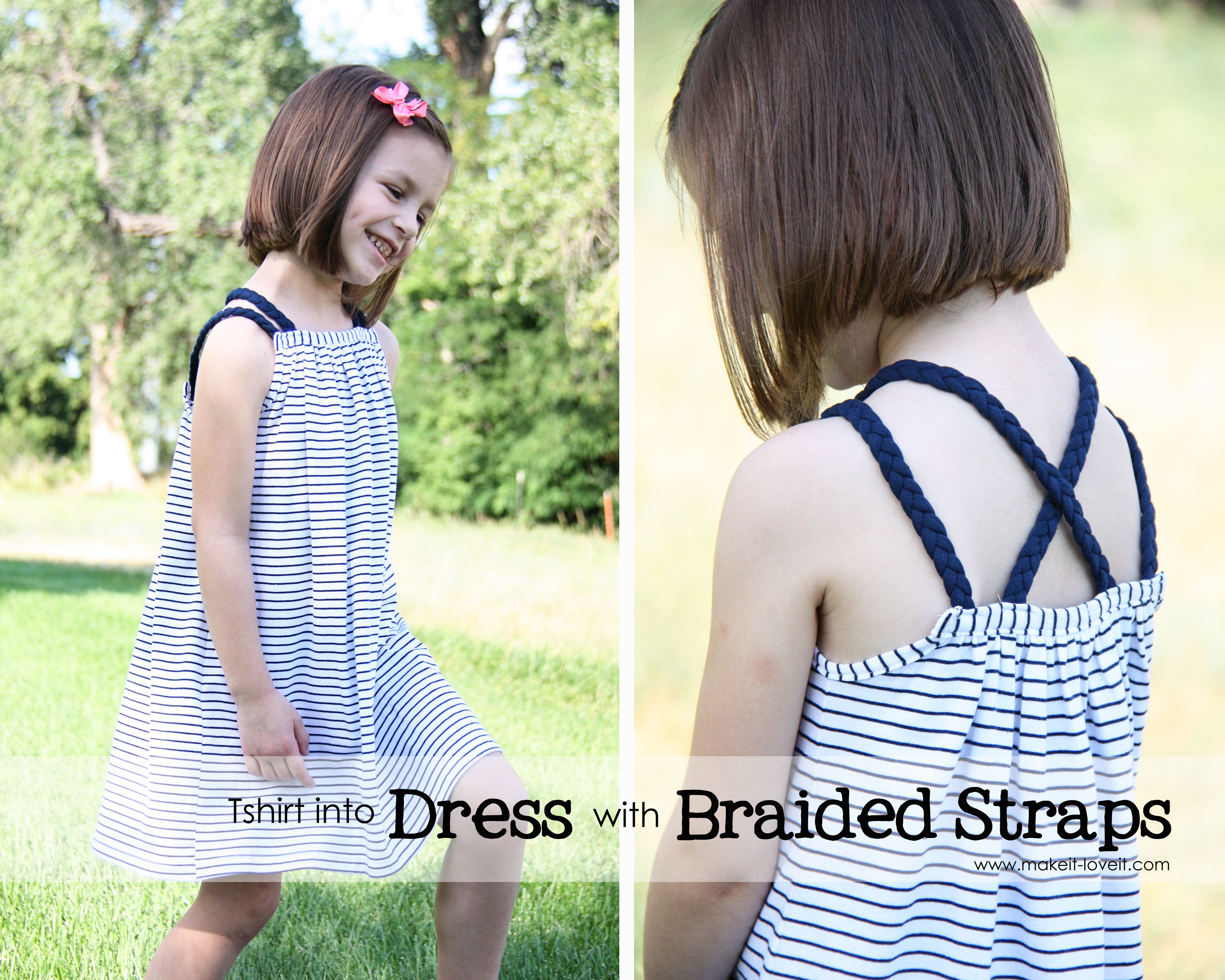 Dress (or Top) with Braided Straps...from an Old Shirt9