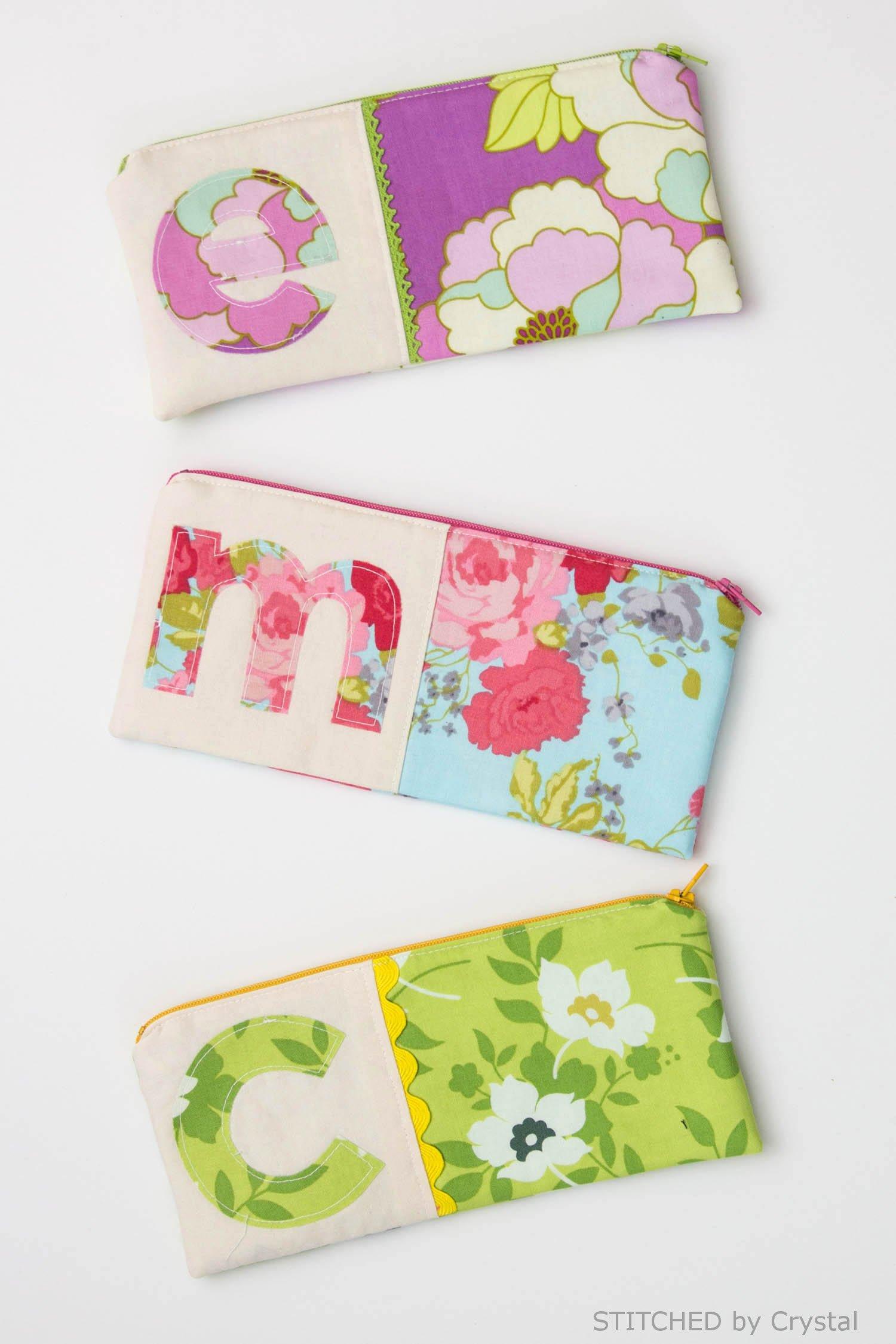 Sew a monogrammed zipper pouch