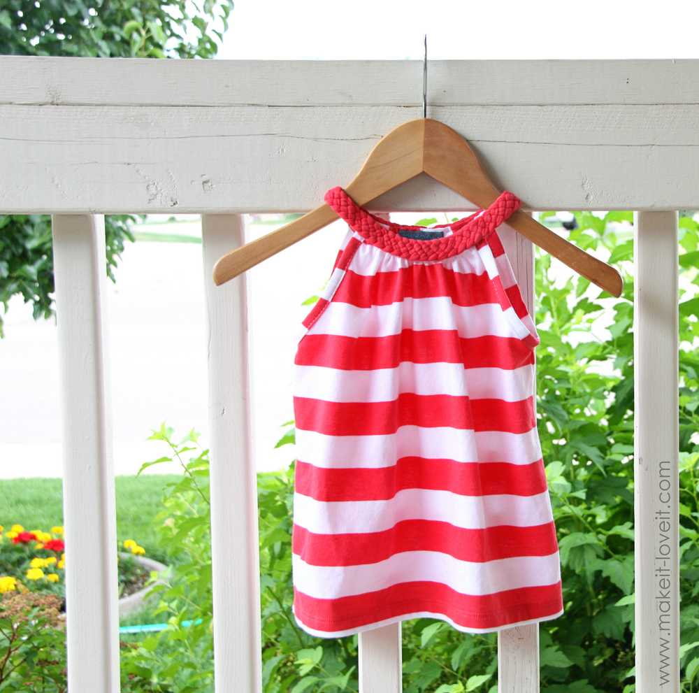 Simple Dress with Braided Collar (from a Women's Tshirt)   via Make It and Love It