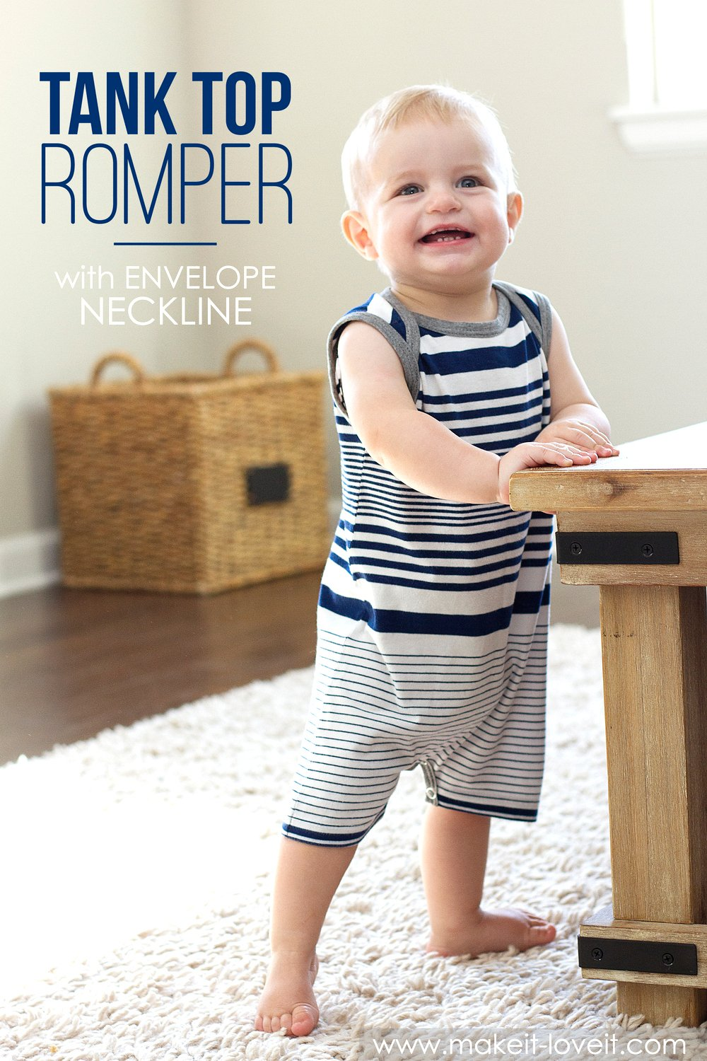 Tank top romper with envelope neckline (…from an old tshirt)