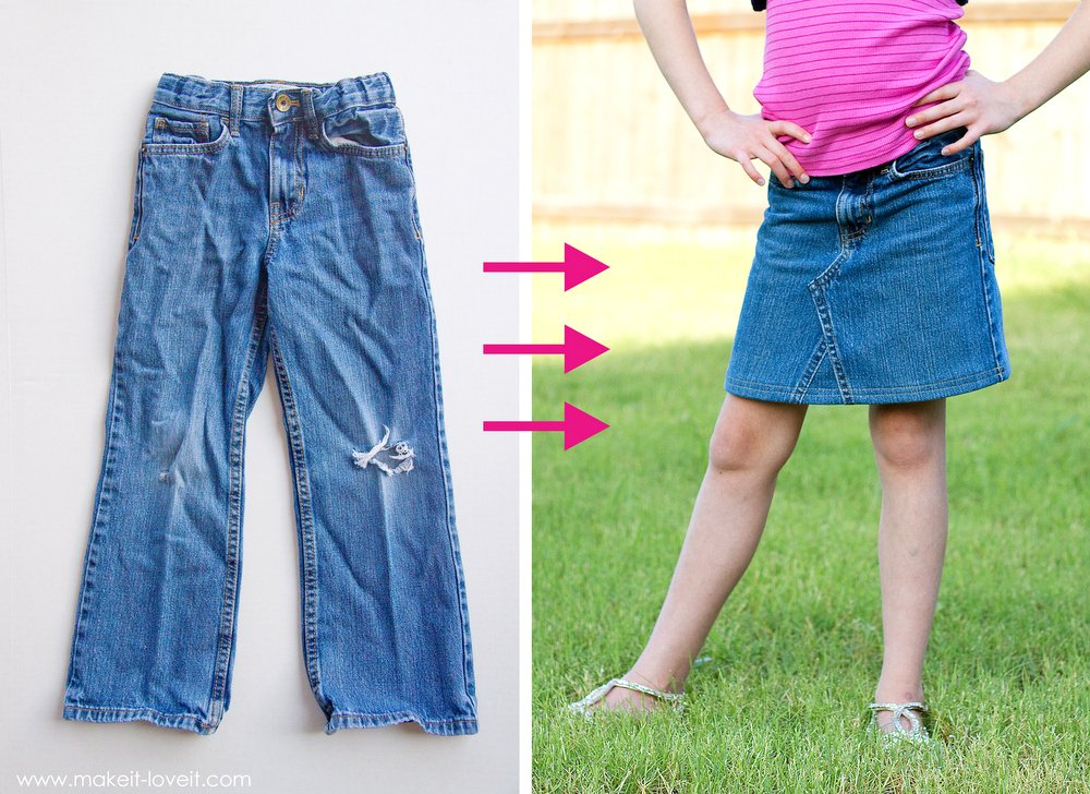 DIY Turn Jean Pants into a JEAN SKIRT