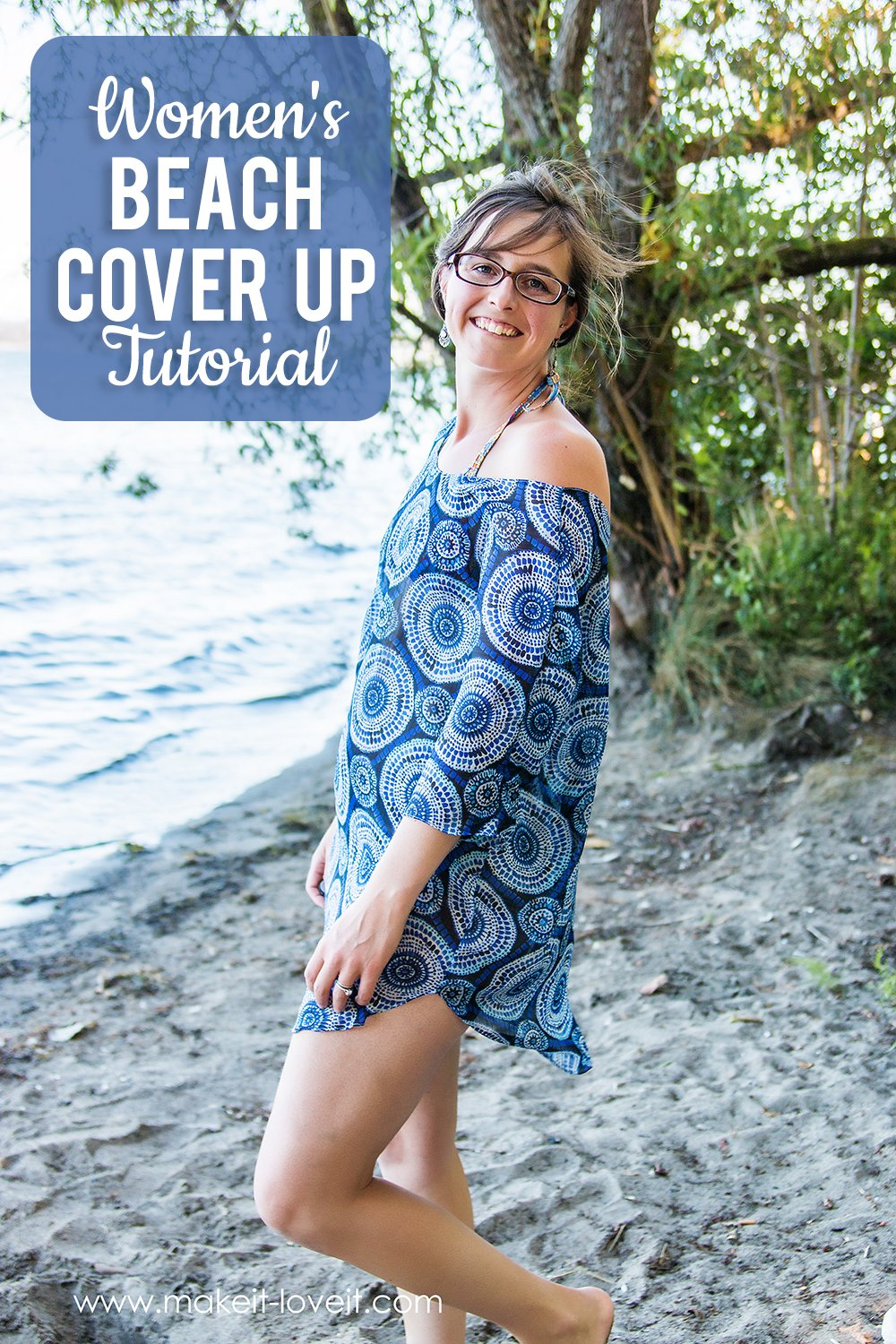 Women's Beach Cover Up Tutorial (PDF pattern pieces included, S-XL)