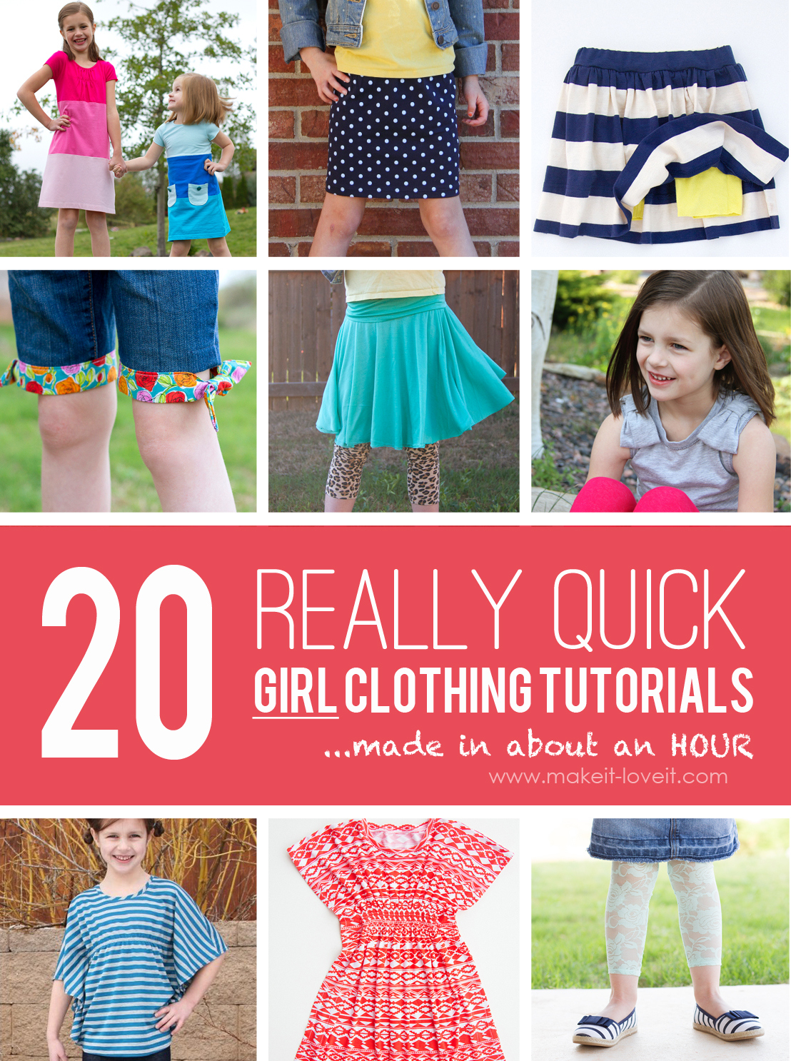 20 quick girl clothing tutorials….made in about an hour!