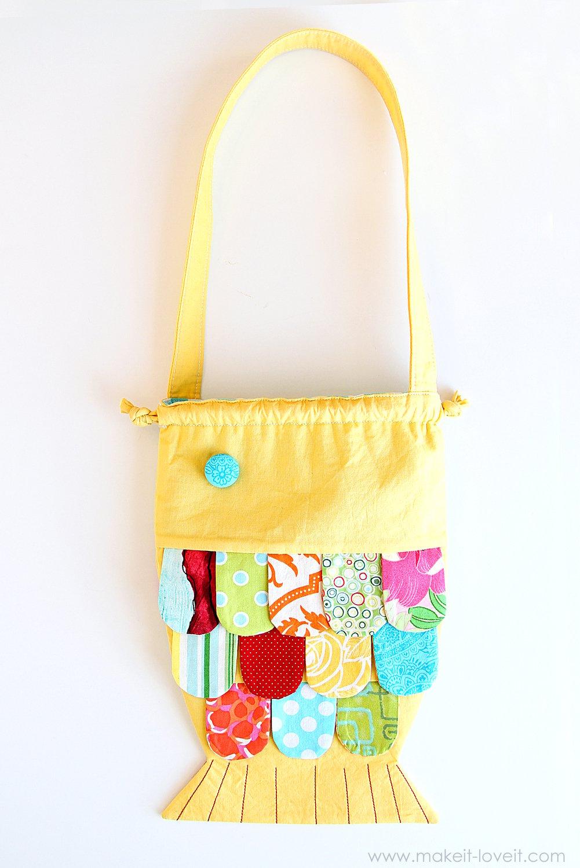 Fabric fishy purse…with a drawstring closure