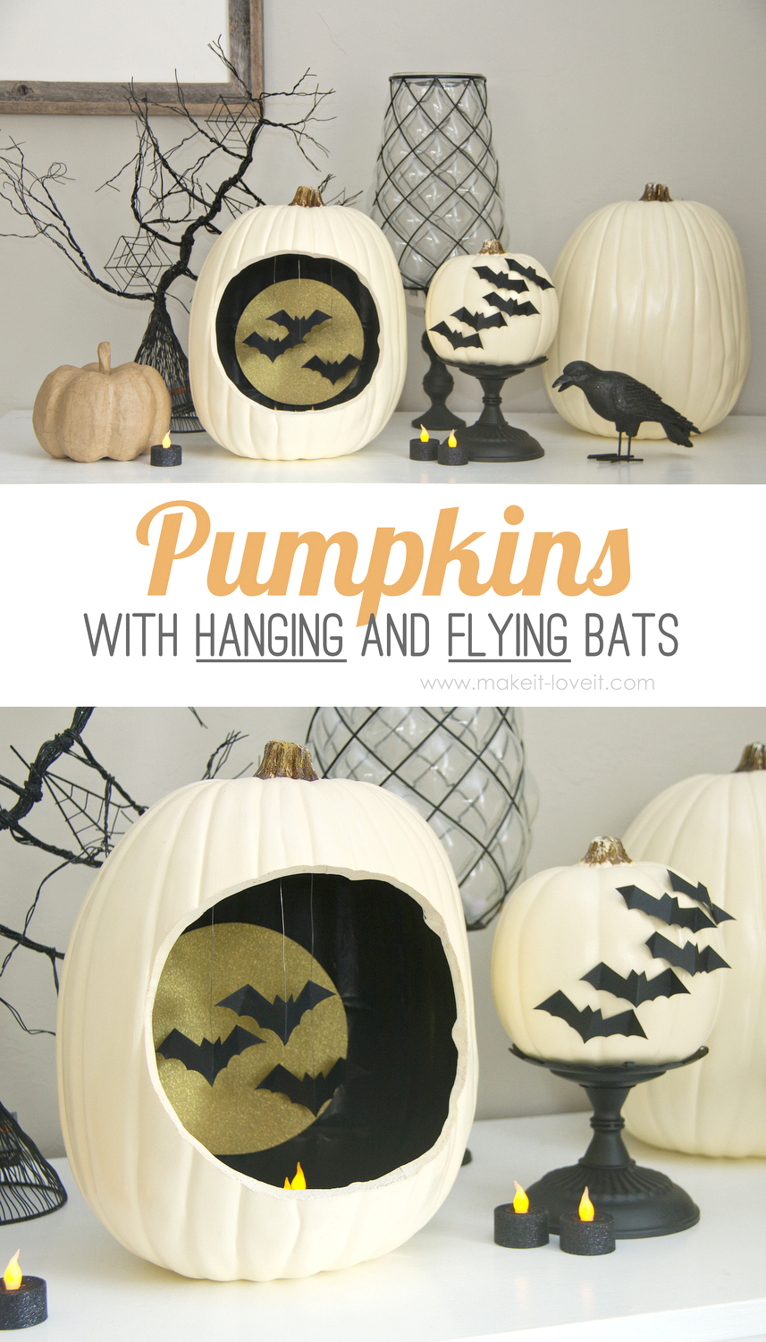 Pumpkins with Hanging and Flying Bats by Ashley Johnston