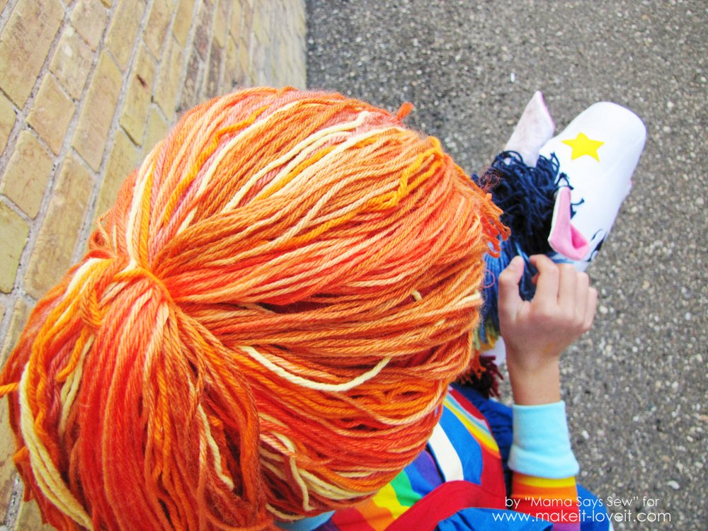 diy yarn wig for rainbow brite or any other character