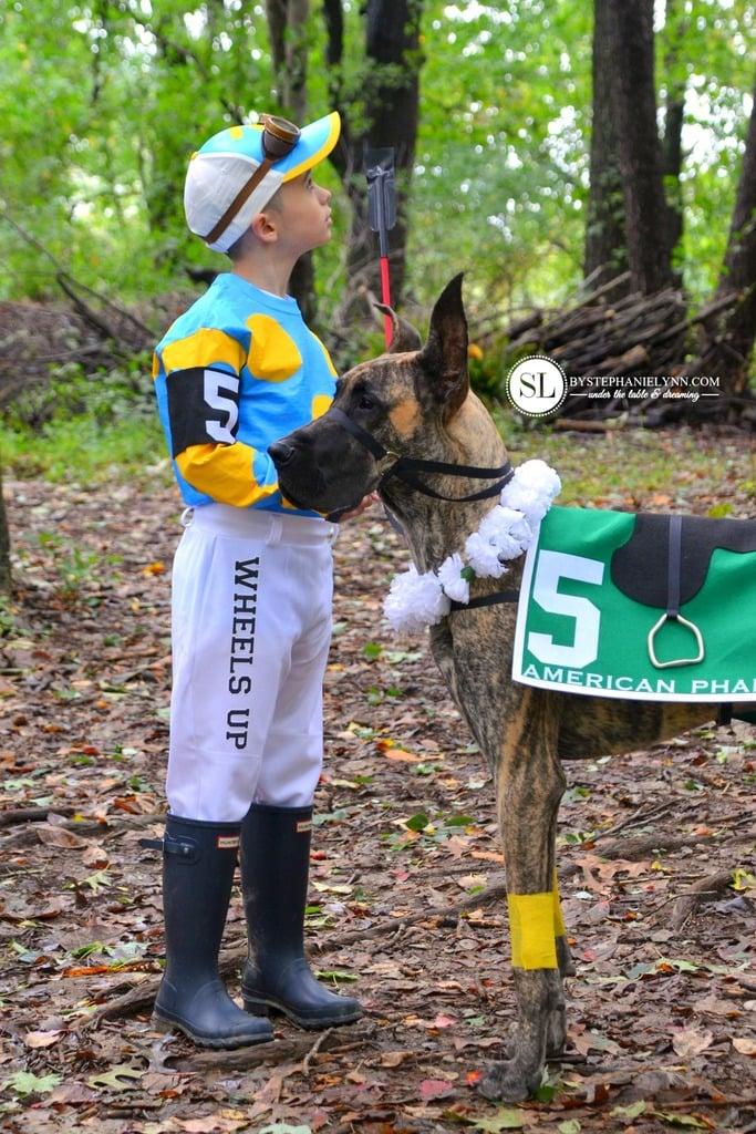 Homemade Jockey Race Horse Kid and Dog Costume michaelsmakers _zpsxa8jtvgl