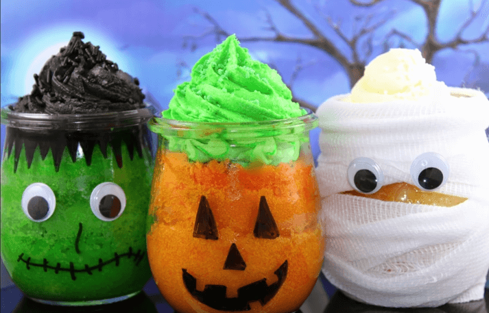 Halloween cupcake jars…frankenstein, mummy, and pumpkin faces!