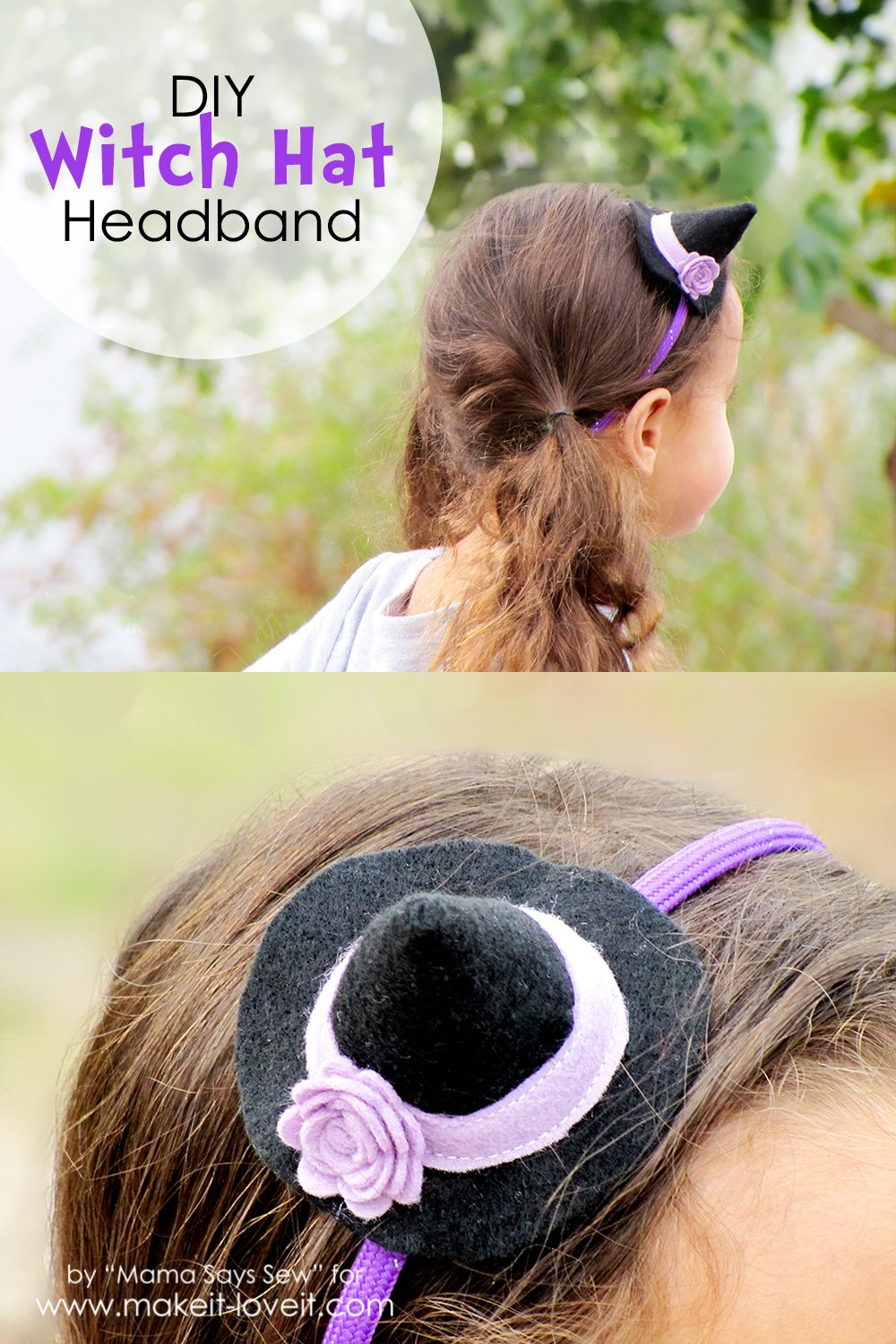 Diy mini witch hat headband…a great last minute accessory!