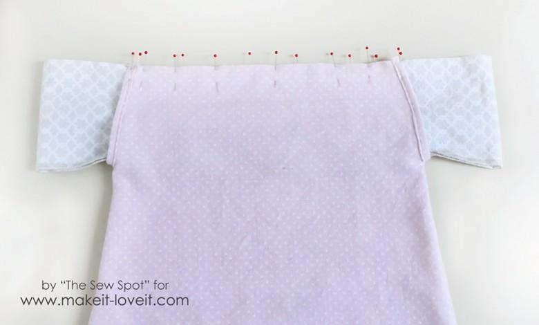 pin shoulder ruffle to nightgown