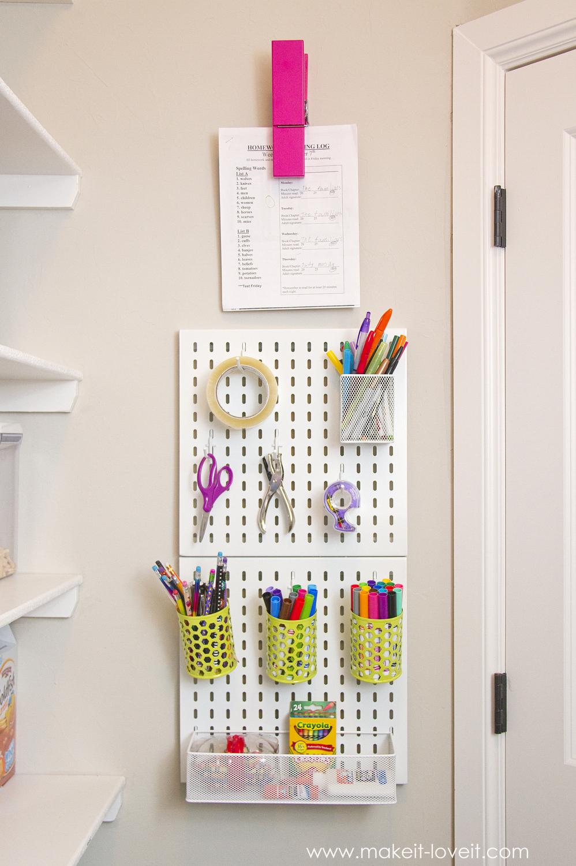 Hanging Homework Station (...or craft station!) | via Make It and Love it
