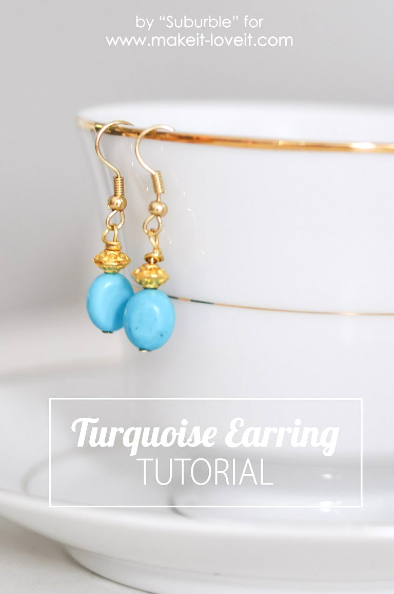 Easy turquoise earring tutorial